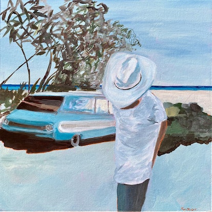 (CreativeWork) Wave Cowboy II - Original   by Pip Phelps. Acrylic Paint. Shop online at Bluethumb.