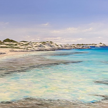(CreativeWork) Time for a Dip by Ann Steer. Acrylic. Shop online at Bluethumb.