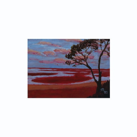 (CreativeWork) Sunset at Carmila Beach, Qld by Marilyn Murray. Acrylic Paint. Shop online at Bluethumb.