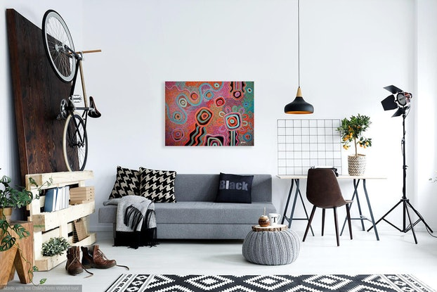 (CreativeWork) Kids playing out bush by T'keyah Ware. Acrylic Paint. Shop online at Bluethumb.