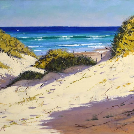 (CreativeWork)  Light across the dunes, central coast by Graham Gercken. Oil Paint. Shop online at Bluethumb.