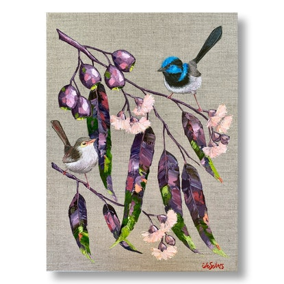 (CreativeWork) True Blue  /  Blue Wrens and Flowering Gum by Eve Sellars. Oil Paint. Shop online at Bluethumb.