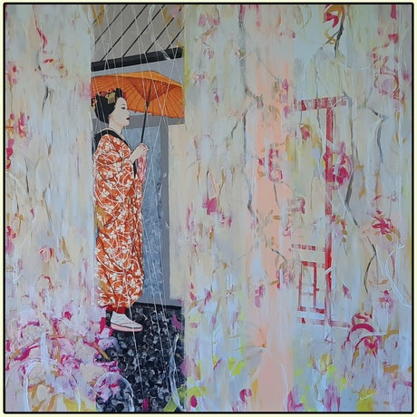 (CreativeWork) Rainy day, Kyoto by Sue Smith. Acrylic Paint. Shop online at Bluethumb.