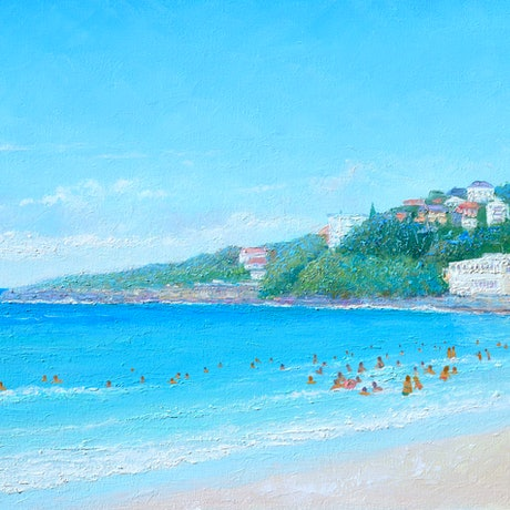 (CreativeWork) BUSY DAY AT COOGEE BEACH  by Jan Matson. Oil Paint. Shop online at Bluethumb.