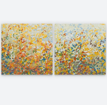 (CreativeWork) Spring News Duo- 101 cm square each by George Hall. Mixed Media. Shop online at Bluethumb.