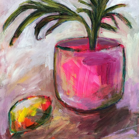 (CreativeWork) Potted Palm and Lemon by Nicole Fearfield. Acrylic Paint. Shop online at Bluethumb.