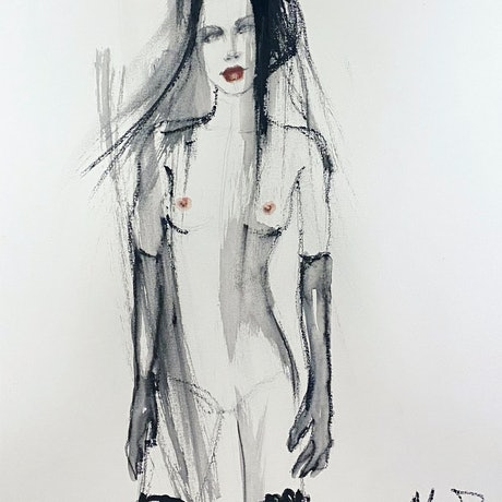 (CreativeWork) Giselle by Fiona Maclean. Watercolour Paint. Shop online at Bluethumb.