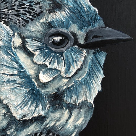 (CreativeWork) Blue Wren by Karen Sentonaris. Mixed Media. Shop online at Bluethumb.