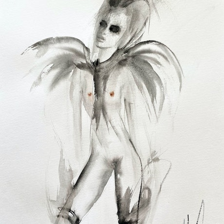 (CreativeWork) Coco in masquerade by Fiona Maclean. Watercolour Paint. Shop online at Bluethumb.