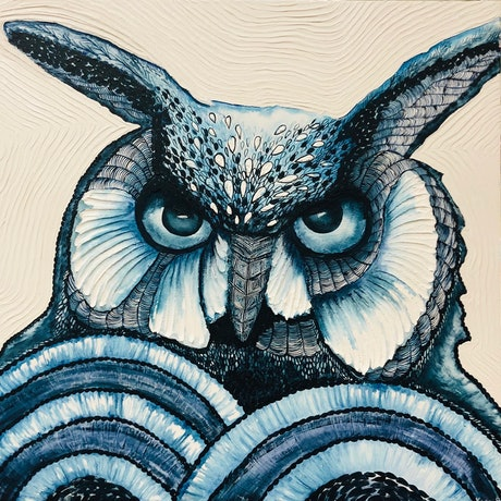 (CreativeWork) Long-eared owl by Karen Sentonaris. Mixed Media. Shop online at Bluethumb.
