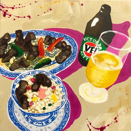 (CreativeWork) VB & Beef and Black Bean by Ben Tankard. Acrylic Paint. Shop online at Bluethumb.