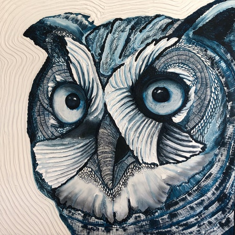 (CreativeWork) Barking Owl by Karen Sentonaris. Mixed Media. Shop online at Bluethumb.