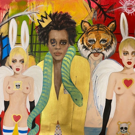 (CreativeWork) My dream of Jean Michel by Fiona Maclean. Oil Paint. Shop online at Bluethumb.