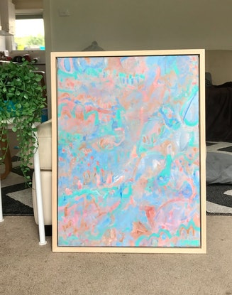(CreativeWork) CORAL GARDEN  - FRAMED IN TIMBER by Belinda Stone. Acrylic Paint. Shop online at Bluethumb.