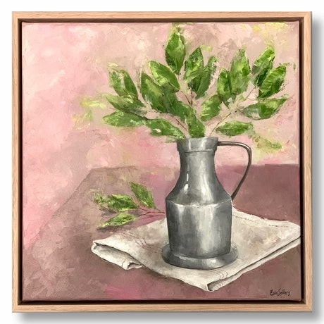 (CreativeWork) Pewter and Bay Leaves (framed) by Eve Sellars. Oil Paint. Shop online at Bluethumb.