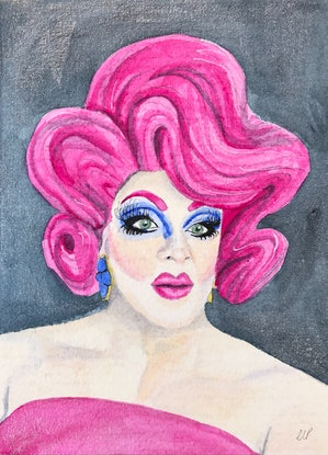 A fabulous drag queen with bright hot pink hair and glittery hot pink shoulder-less dress with a sparkly indigo background.