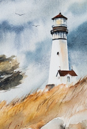 (CreativeWork) Guiding Light by Anastasia Mily. Watercolour Paint. Shop online at Bluethumb.