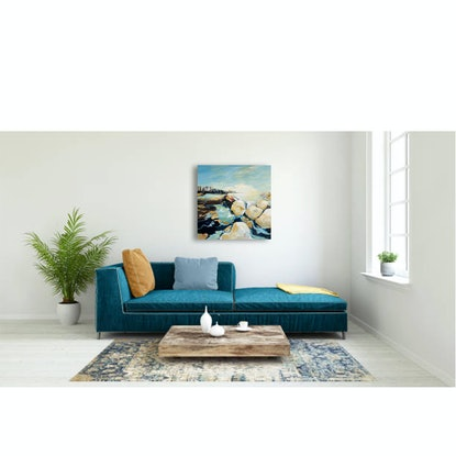 (CreativeWork) City Sea Pool by Linden Abbot. Oil Paint. Shop online at Bluethumb.