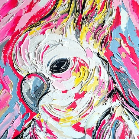 (CreativeWork) Fluro Pink Cockatoo by Lisa Fahey. Acrylic Paint. Shop online at Bluethumb.
