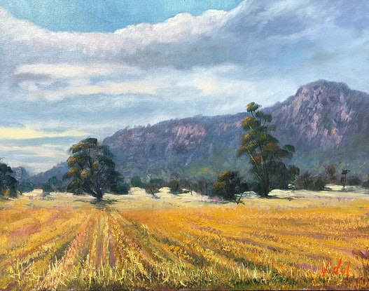 (CreativeWork) A moody morning near Arapiles, VIC - Oil on canvas board by Christopher Vidal. Oil. Shop online at Bluethumb.