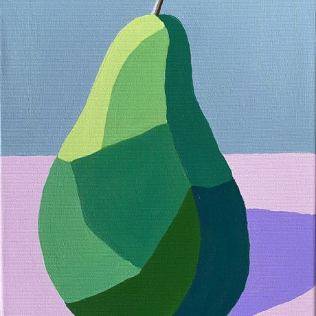 (CreativeWork) One Pear - Original Painting by Lisa Turner. Acrylic Paint. Shop online at Bluethumb.