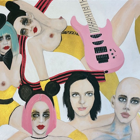 (CreativeWork) Sable's Rose Pink Electric Guitar by Fiona Maclean. Oil Paint. Shop online at Bluethumb.