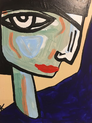 (CreativeWork) Cora  by Kate Rogers. Acrylic Paint. Shop online at Bluethumb.