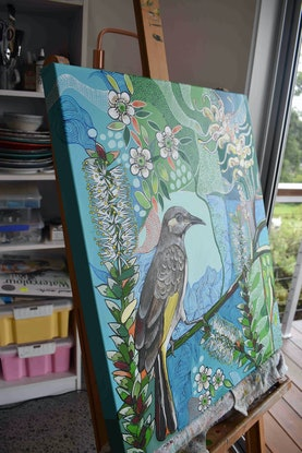 (CreativeWork) Brown Honeyeater by Naomi Malone. Acrylic Paint. Shop online at Bluethumb.