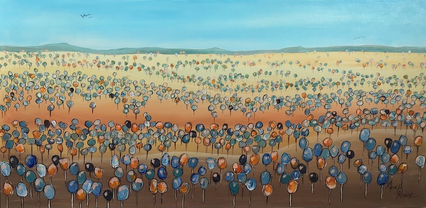 (CreativeWork) Pleasant country 2 by Ron Brown. Acrylic Paint. Shop online at Bluethumb.