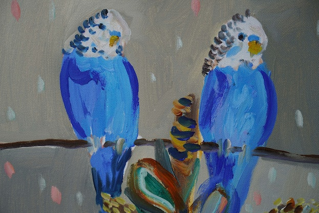 (CreativeWork) Seven Relaxing Budgies by Katerina Apale. Oil Paint. Shop online at Bluethumb.