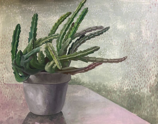(CreativeWork) Stapelia by Luke Morgan. Oil Paint. Shop online at Bluethumb.