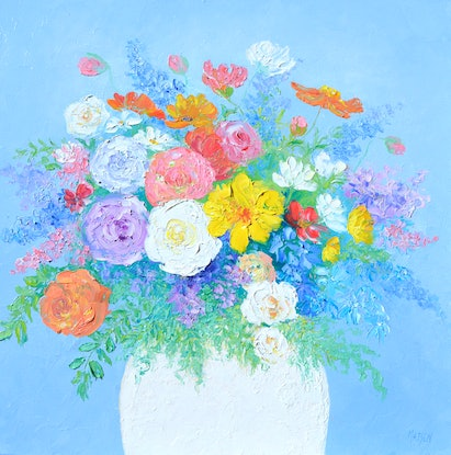 (CreativeWork) AMOUR - FLOWERS IMPASTO by Jan Matson. Oil Paint. Shop online at Bluethumb.