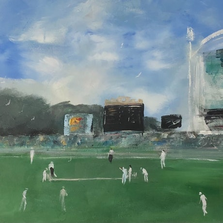 (CreativeWork) Test  Match - Adelaide Oval by Tina Barr. Acrylic Paint. Shop online at Bluethumb.