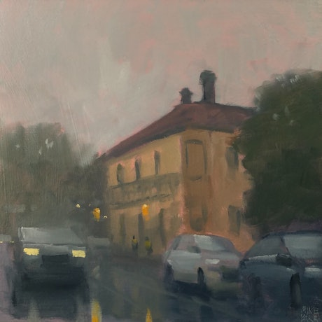(CreativeWork) Showers at the British by Mike Barr. Oil Paint. Shop online at Bluethumb.