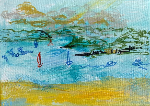 (CreativeWork) Holding On To The Day by Cecilia Bell. Acrylic Paint. Shop online at Bluethumb.