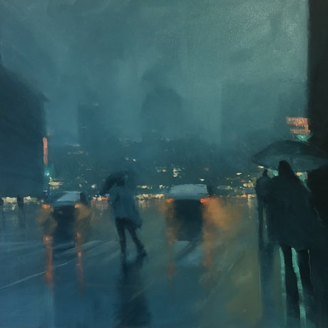 (CreativeWork) Unexpected Rain - rainy cityscape by Mike Barr. Acrylic Paint. Shop online at Bluethumb.