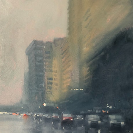 (CreativeWork) Wednesday Awash! - rainy-day cityscape by Mike Barr. Oil Paint. Shop online at Bluethumb.