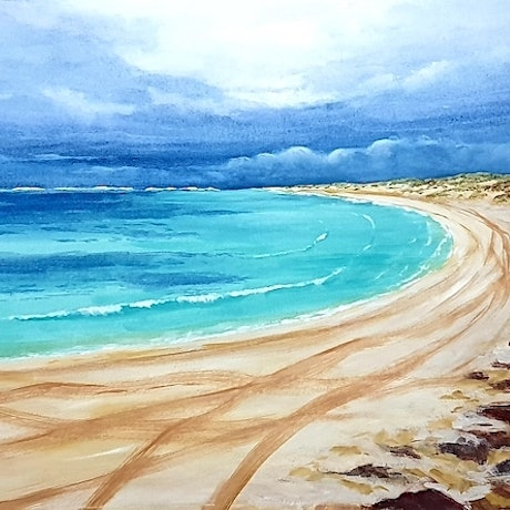 (CreativeWork) Winter's Day at the Beach by Harry Lea. Watercolour Paint. Shop online at Bluethumb.