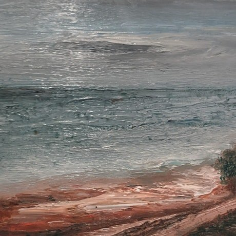 (CreativeWork) Looking down the ocean by Hang Minh Vu. Oil Paint. Shop online at Bluethumb.