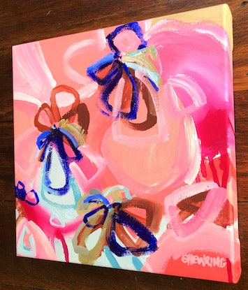 (CreativeWork) Love Poem - Abstract Flowers Colourful and Bright 30 x 30cm by Jen Shewring. Acrylic Paint. Shop online at Bluethumb.