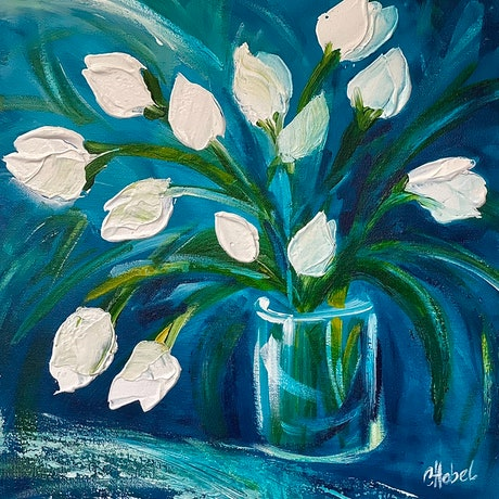 (CreativeWork) Tulips still life  by Chris Hobel. Acrylic Paint. Shop online at Bluethumb.