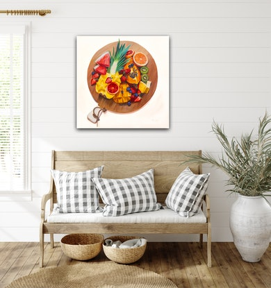(CreativeWork) Sliced  - original oil painting still life with platter of fruit realism by Mia Laing. Oil Paint. Shop online at Bluethumb.