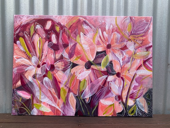 (CreativeWork) Flowers heal broken hearts  by Emma Hergstrom. Acrylic Paint. Shop online at Bluethumb.