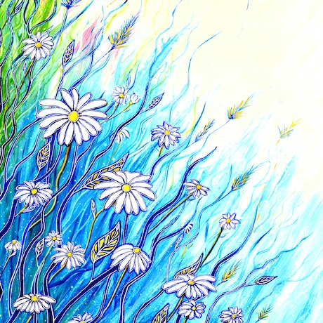 (CreativeWork) Wild Daisies   by Linda Callaghan. Acrylic Paint. Shop online at Bluethumb.