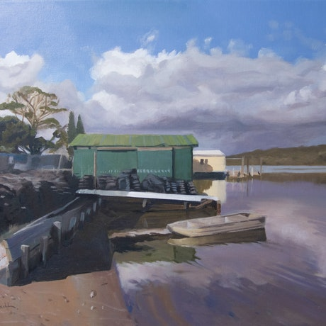 (CreativeWork) Oyster Sheds on the Wooli Wooli by Richard Washbourn. Oil Paint. Shop online at Bluethumb.
