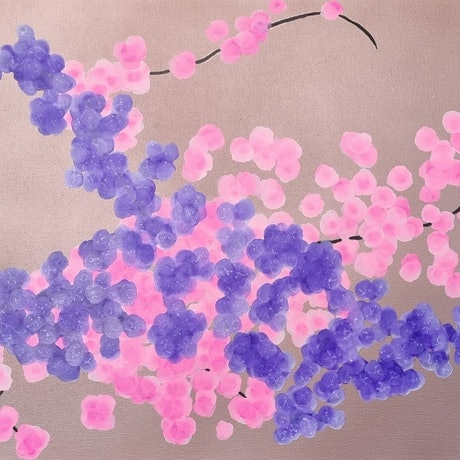 (CreativeWork) Cherry blossoms by Sharyn Sims. Mixed Media. Shop online at Bluethumb.