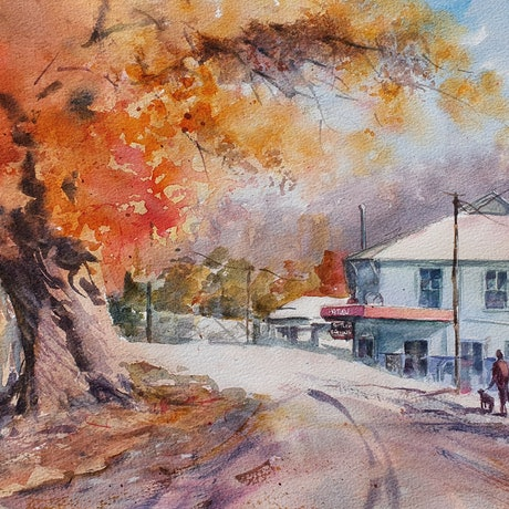 (CreativeWork) Coming into Batlow by Anica Amphlett. Watercolour Paint. Shop online at Bluethumb.