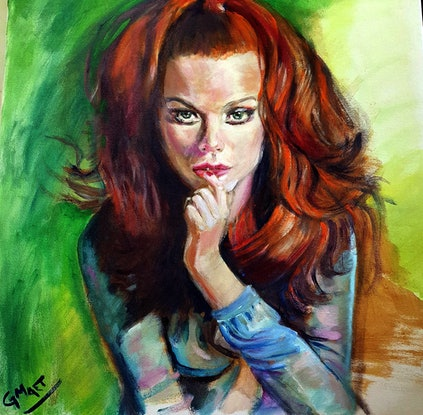 (CreativeWork) red hair by Gerard Mignot. Acrylic Paint. Shop online at Bluethumb.