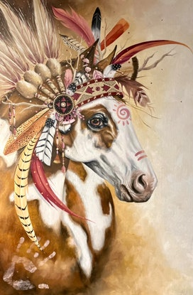 (CreativeWork) Native Pinto by Nicolee Payne. Oil. Shop online at Bluethumb.