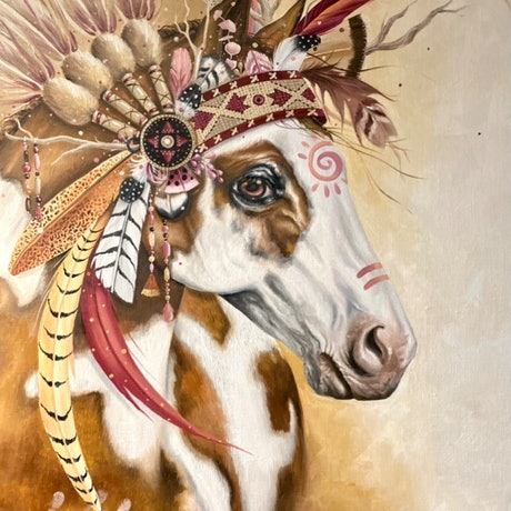 (CreativeWork) Native Pinto by Nicolee Payne. Oil Paint. Shop online at Bluethumb.